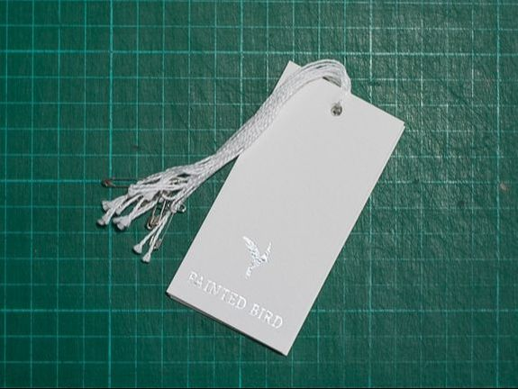 foil printed swing tags painted bird
