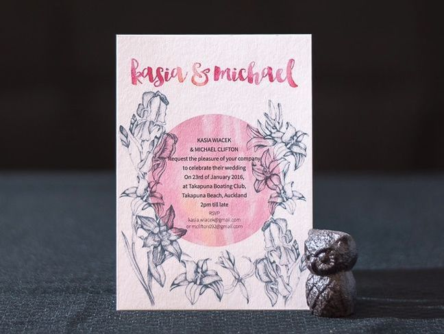 digitally printed invite on textured card
