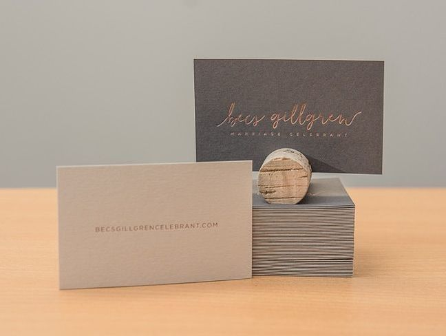 foil stamped and duplex glued business cards