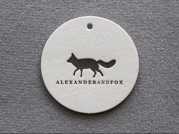 letterpress printed round swing tag alexander fox