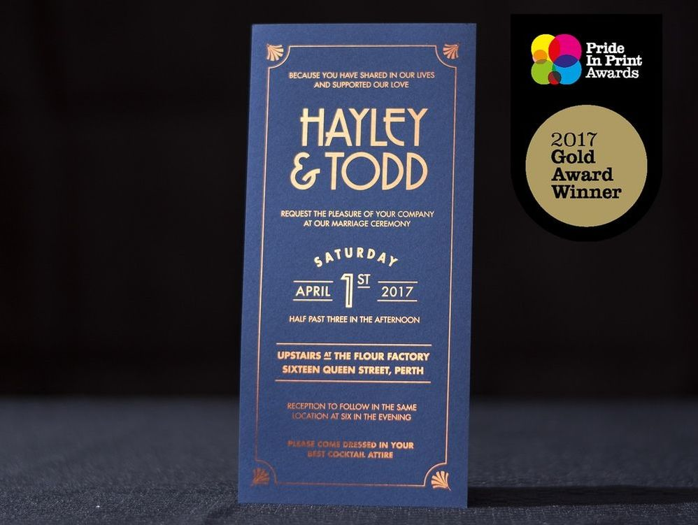 copper foil on navy invites award winning