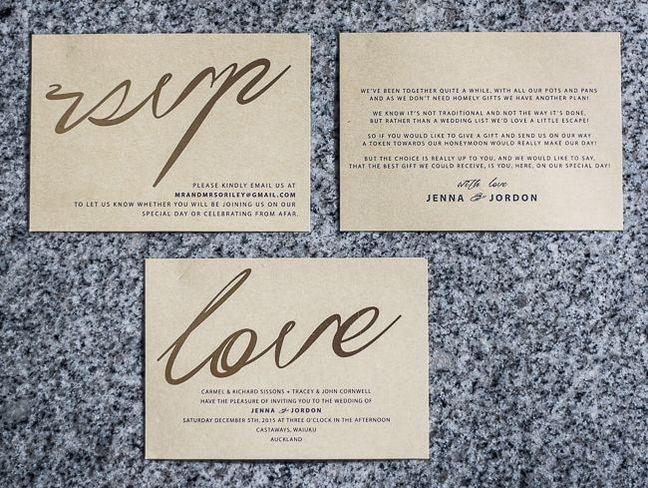 gold foil and colour print on kraft card invite set