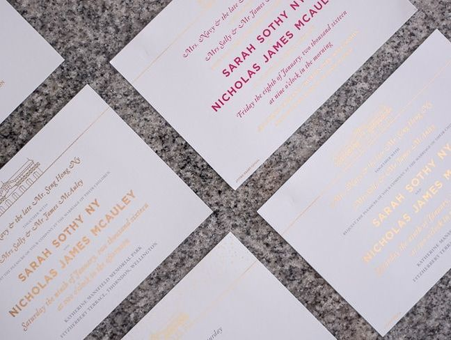 gold foil and colour digital invites