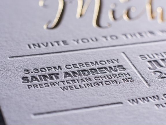 letterpress and gold foil invite close up